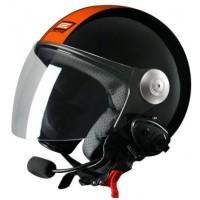 Шлем (открытый со стеклом) Origine Pronto Tony оранжевый черный глянцевый