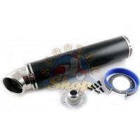 Глушитель (тюнинг) 420*100mm, креп. O78mm (нержавейка, черный матовый, прямоток, mod:25)