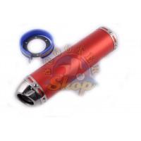 Глушитель (тюнинг) 300*90mm, креп. O48mm (нержавейка, красный, прямоток, mod:10)