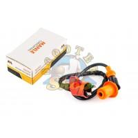 Катушка зажигания (стайлинг) Honda DIO, 139QMB, 152QMI,157QMJ 125-150cc, (оранжевая, +насвечник)