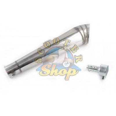 Глушитель (тюнинг) 430*100mm, креп. O78mm (нержавейка, сопло, хром, прямоток)